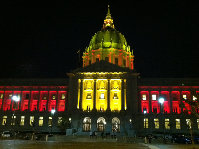 Outside San Francisco City Hall. Decked out for a 49er win.